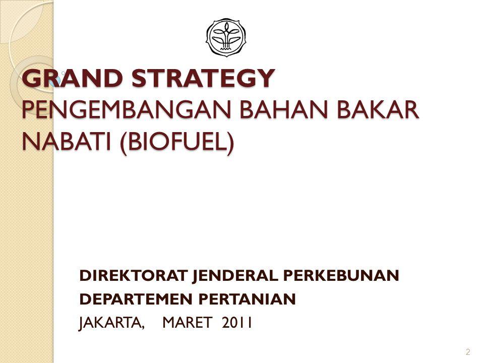 GRAND STRATEGY PENGEMBANGAN BAHAN BAKAR NABATI (BIOFUEL) DIREKTORAT JENDERAL PERKEBUNAN DEPARTEMEN PERTANIAN JAKARTA, MARET 2011 2
