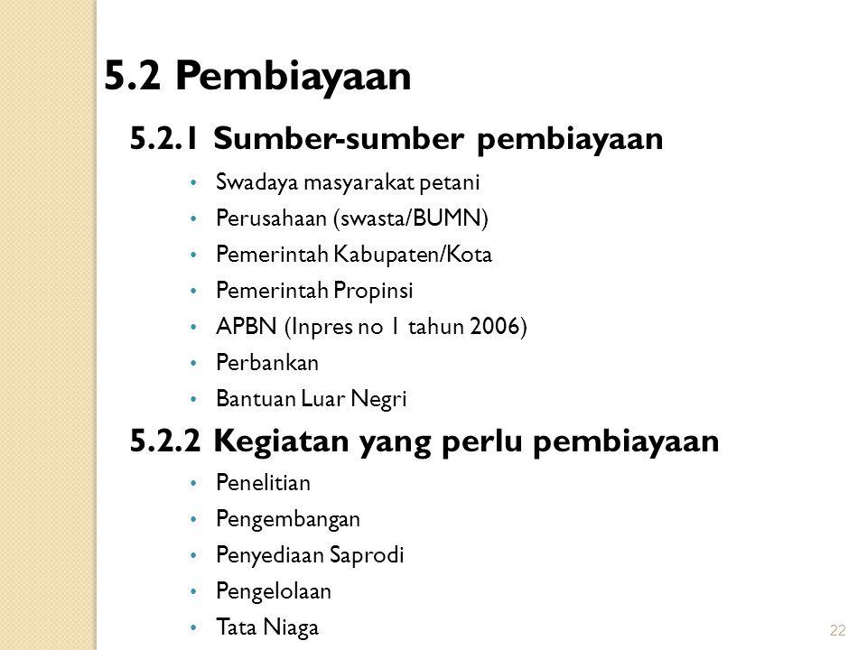 5.2 Pembiayaan 5.2.1 Sumber-sumber pembiayaan Swadaya masyarakat petani Perusahaan (swasta/BUMN) Pemerintah Kabupaten/Kota Pemerintah Propinsi APBN (I