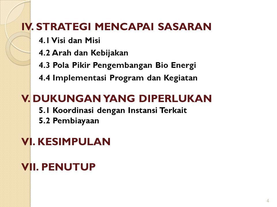 IV. STRATEGI MENCAPAI SASARAN 4.1 Visi dan Misi 4.2 Arah dan Kebijakan 4.3 Pola Pikir Pengembangan Bio Energi 4.4 Implementasi Program dan Kegiatan V.