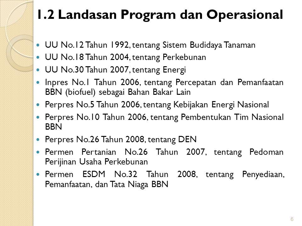 1.2 Landasan Program dan Operasional UU No.12 Tahun 1992, tentang Sistem Budidaya Tanaman UU No.18 Tahun 2004, tentang Perkebunan UU No.30 Tahun 2007,