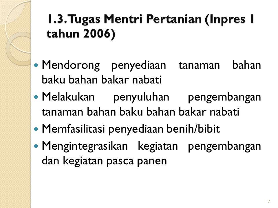 1.3. Tugas Mentri Pertanian (Inpres 1 tahun 2006) Mendorong penyediaan tanaman bahan baku bahan bakar nabati Melakukan penyuluhan pengembangan tanaman