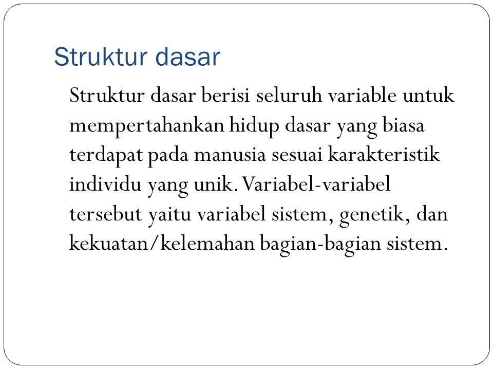 Struktur dasar Struktur dasar berisi seluruh variable untuk mempertahankan hidup dasar yang biasa terdapat pada manusia sesuai karakteristik individu