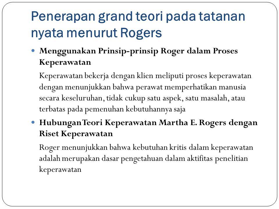 Penerapan grand teori pada tatanan nyata menurut Rogers Menggunakan Prinsip-prinsip Roger dalam Proses Keperawatan Keperawatan bekerja dengan klien me