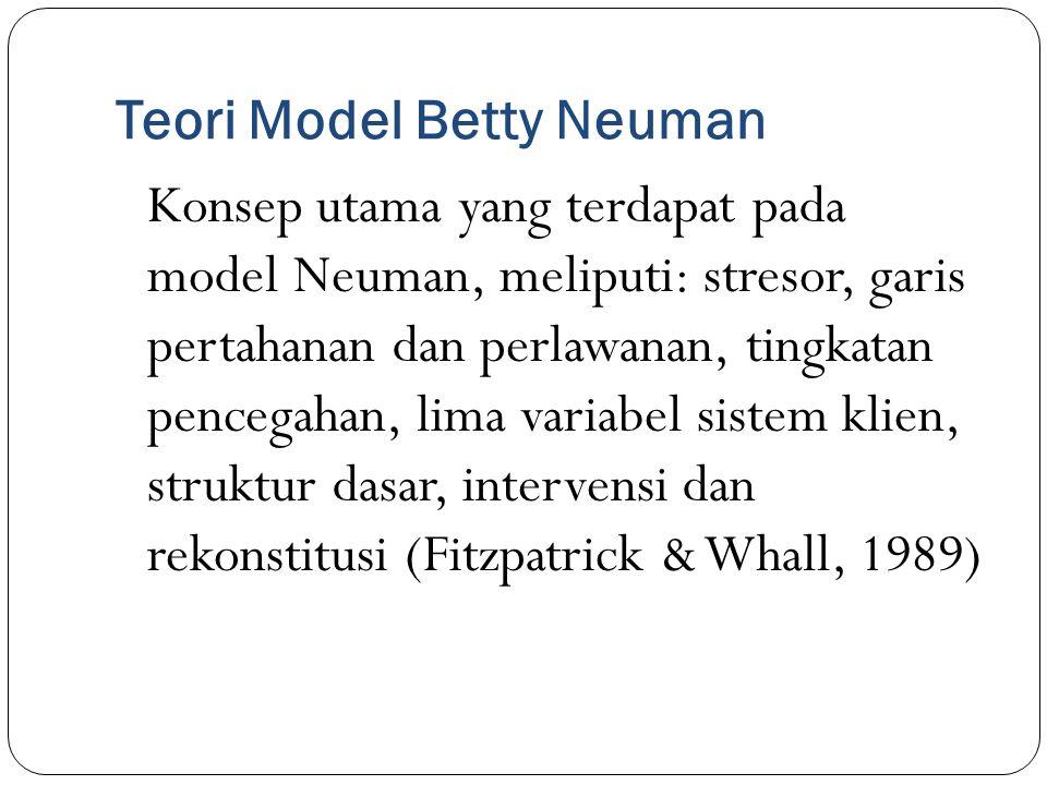 Teori Model Betty Neuman Konsep utama yang terdapat pada model Neuman, meliputi: stresor, garis pertahanan dan perlawanan, tingkatan pencegahan, lima