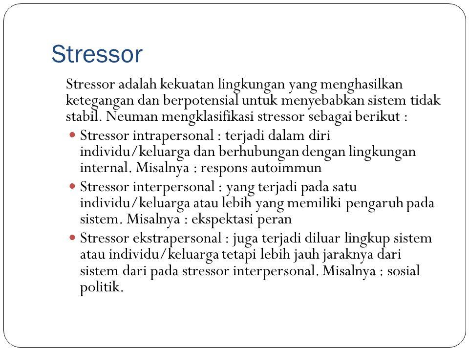 Stressor Stressor adalah kekuatan lingkungan yang menghasilkan ketegangan dan berpotensial untuk menyebabkan sistem tidak stabil. Neuman mengklasifika