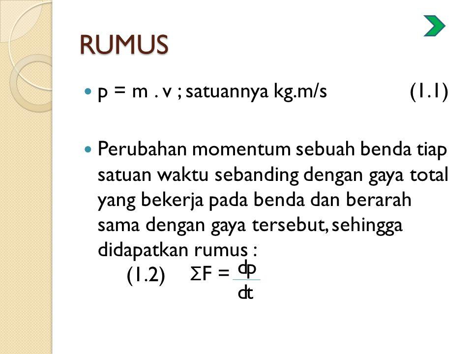 RUMUS p = m. v ; satuannya kg.m/s (1.1) Perubahan momentum sebuah benda tiap satuan waktu sebanding dengan gaya total yang bekerja pada benda dan bera