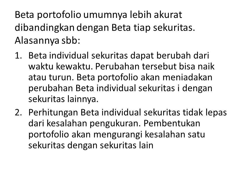 Beta portofolio umumnya lebih akurat dibandingkan dengan Beta tiap sekuritas. Alasannya sbb: 1.Beta individual sekuritas dapat berubah dari waktu kewa