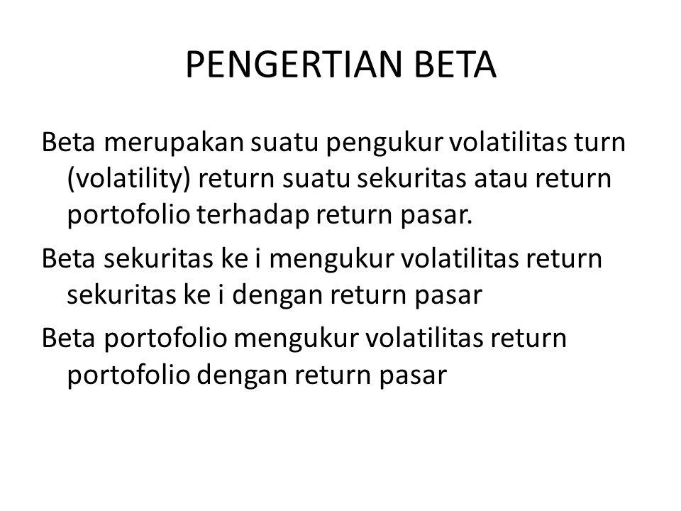 PENGERTIAN BETA Beta merupakan suatu pengukur volatilitas turn (volatility) return suatu sekuritas atau return portofolio terhadap return pasar. Beta