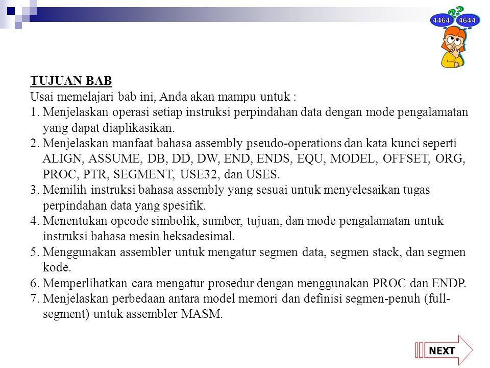 NEXT GAMBAR 4-16 Operasi instruksi LODSW jika DS = 1000H, D = 0, 11000H = 32, dan 11001H = AO.