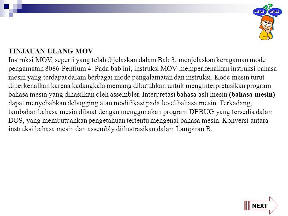 TINJAUAN ULANG MOV Instruksi MOV, seperti yang telah dijelaskan dalam Bab 3, menjelaskan keragaman mode pengamatan 8086-Pentium 4. Pada bab ini, instr