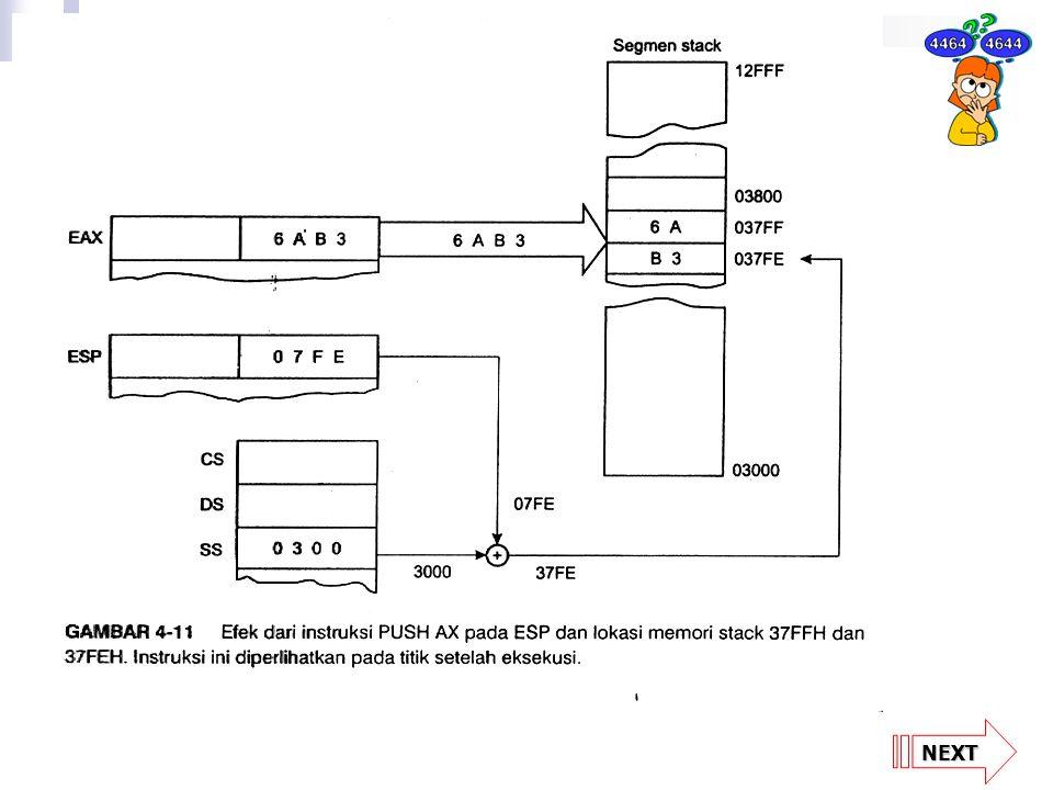 NEXT TABEL 4-7 Instruksi PUSH SimbolContohCatatan PUSH reg 16PUSH BXRegister 16-bit PUSH reg 32PUSH EDXRegister 32-bit PUSH mem 16PUSH WORD PTR (BX) Pointer 16-bit PUSH mem 32PUSH WORD PTR (EBX) Pointer 32-bit PUSH segPUSH DSRegister segmen PUSH imm 8PUSH ','immediate 8-bit PUSH imm 16PUSHW 1000Himmediate 16-bit PUSH imm 32PUSHD 20immediate 32-bit PUSHAPUSHAMenyimpan semua register 16-bit PUSHADPUSHADMenyimpan semua register 32-bit PUSHFPUSHFMenyimpan flag PUSHFDPUSHFDMenyimpan EFLAG