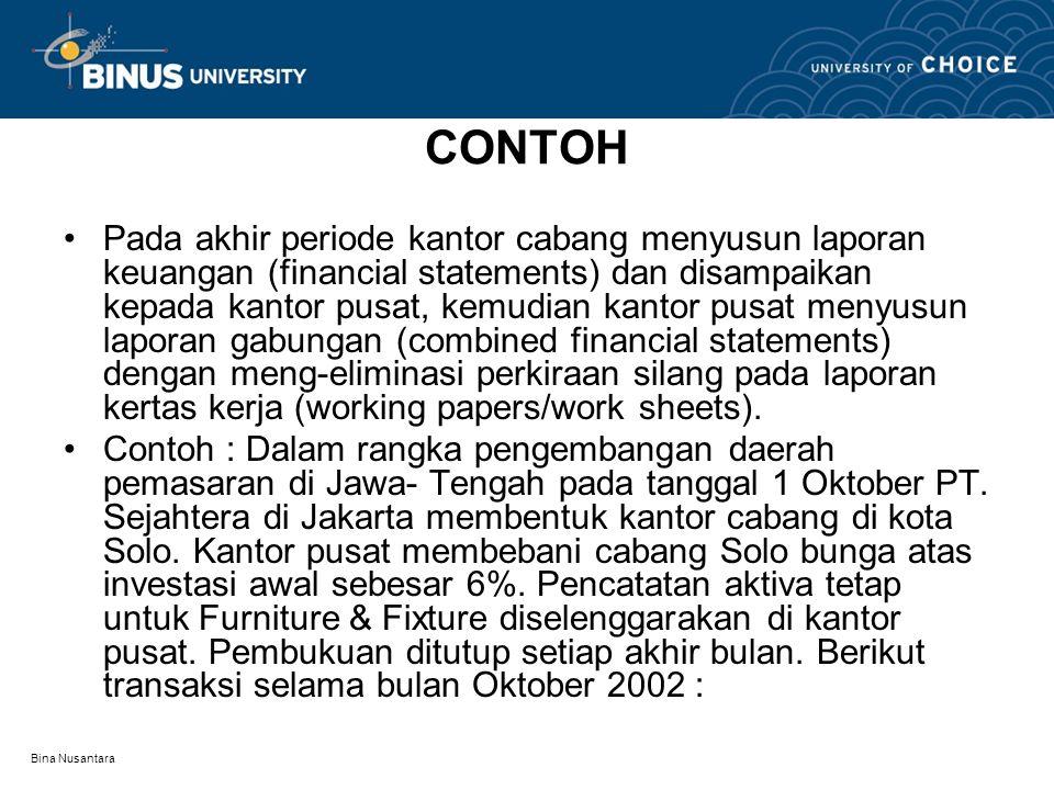 Bina Nusantara CONTOH Pada akhir periode kantor cabang menyusun laporan keuangan (financial statements) dan disampaikan kepada kantor pusat, kemudian