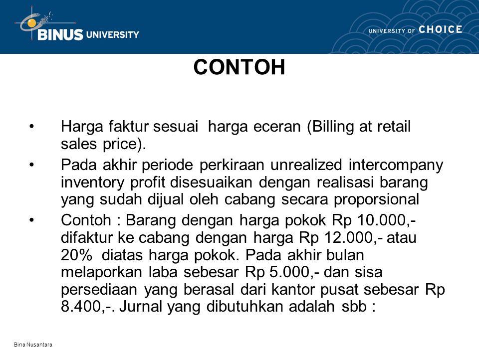Bina Nusantara CONTOH Harga faktur sesuai harga eceran (Billing at retail sales price). Pada akhir periode perkiraan unrealized intercompany inventory