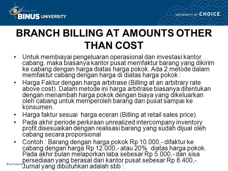 Bina Nusantara BRANCH BILLING AT AMOUNTS OTHER THAN COST Untuk membiayai pengeluaran operasional dan investasi kantor cabang, maka biasanya kantor pus