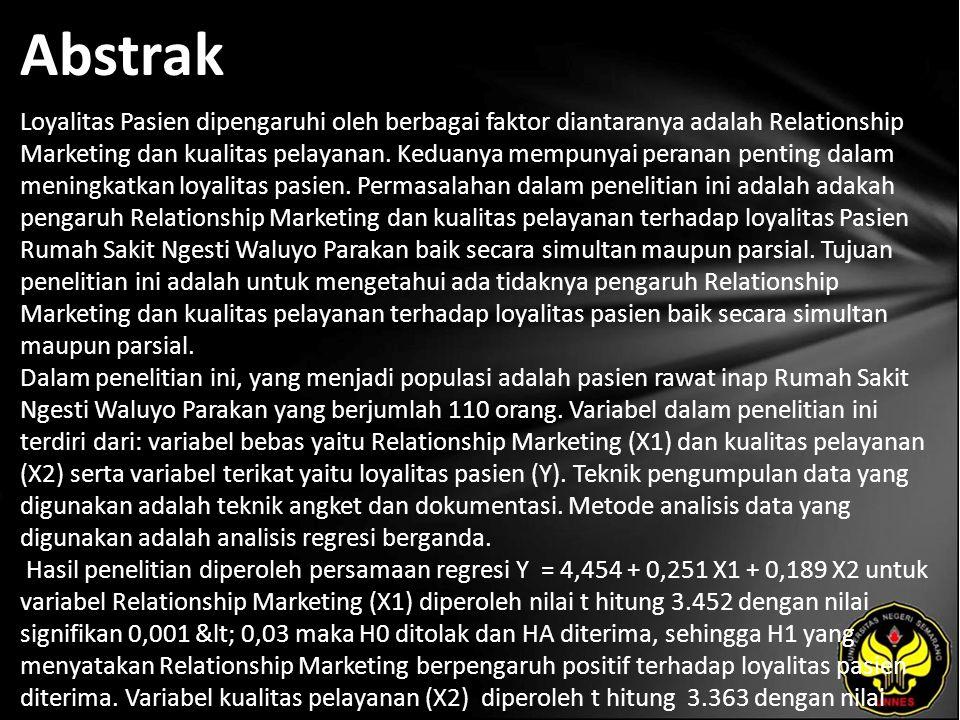 Kata Kunci Relationship Marketing, Kualitas Pelayanan, Loyalitas Pasien