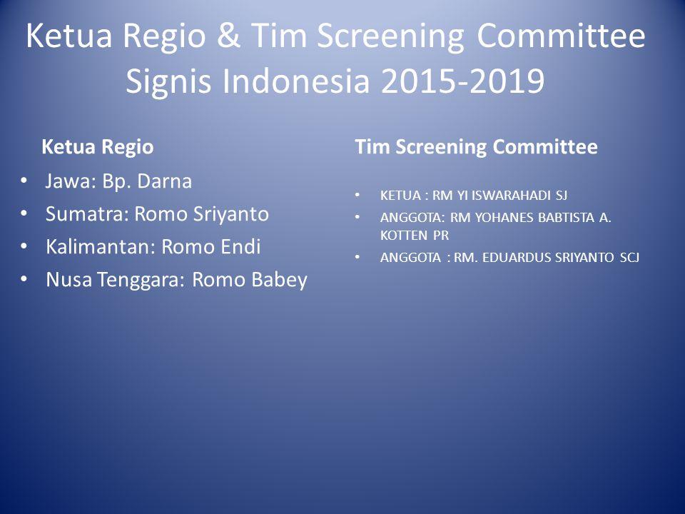 Ketua Regio & Tim Screening Committee Signis Indonesia 2015-2019 Ketua Regio Jawa: Bp. Darna Sumatra: Romo Sriyanto Kalimantan: Romo Endi Nusa Tenggar
