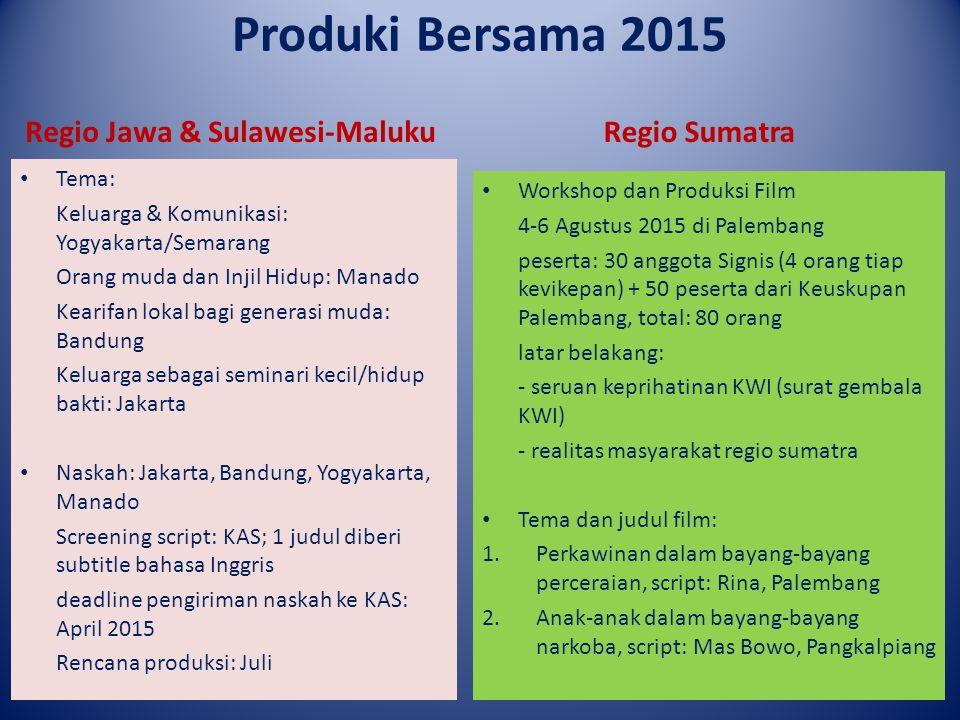Produki Bersama 2015 Regio Jawa & Sulawesi-Maluku Tema: Keluarga & Komunikasi: Yogyakarta/Semarang Orang muda dan Injil Hidup: Manado Kearifan lokal b
