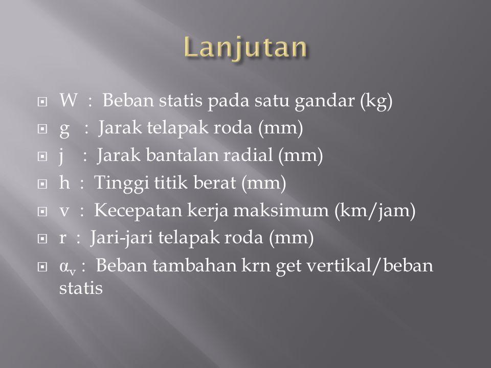  W : Beban statis pada satu gandar (kg)  g : Jarak telapak roda (mm)  j : Jarak bantalan radial (mm)  h : Tinggi titik berat (mm)  v : Kecepatan