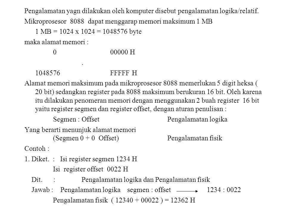 2.Diket. : Pengalamatan fisik 002C3 H Isi register segmen 002A H Dit.