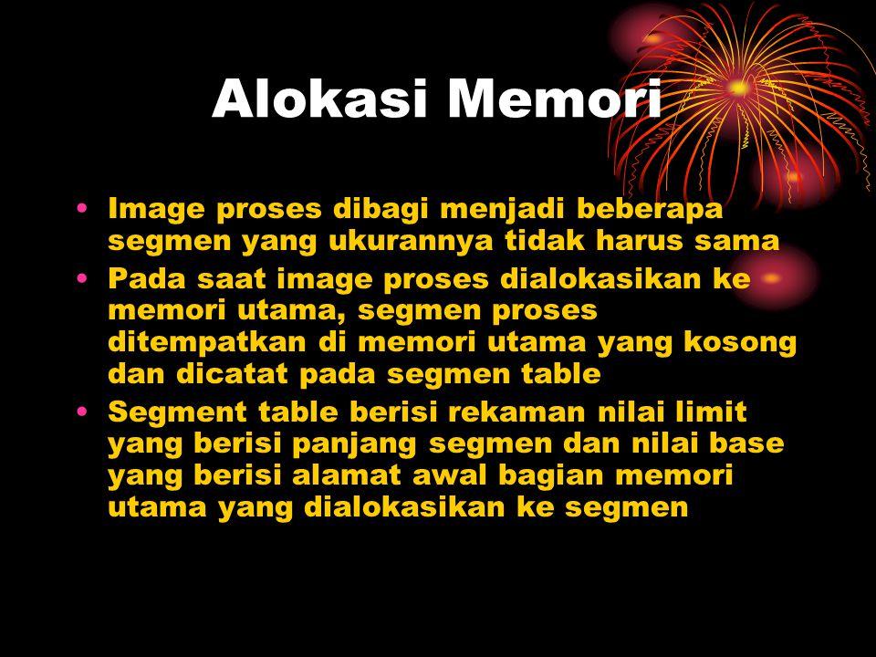 Alokasi Memori Image proses dibagi menjadi beberapa segmen yang ukurannya tidak harus sama Pada saat image proses dialokasikan ke memori utama, segmen