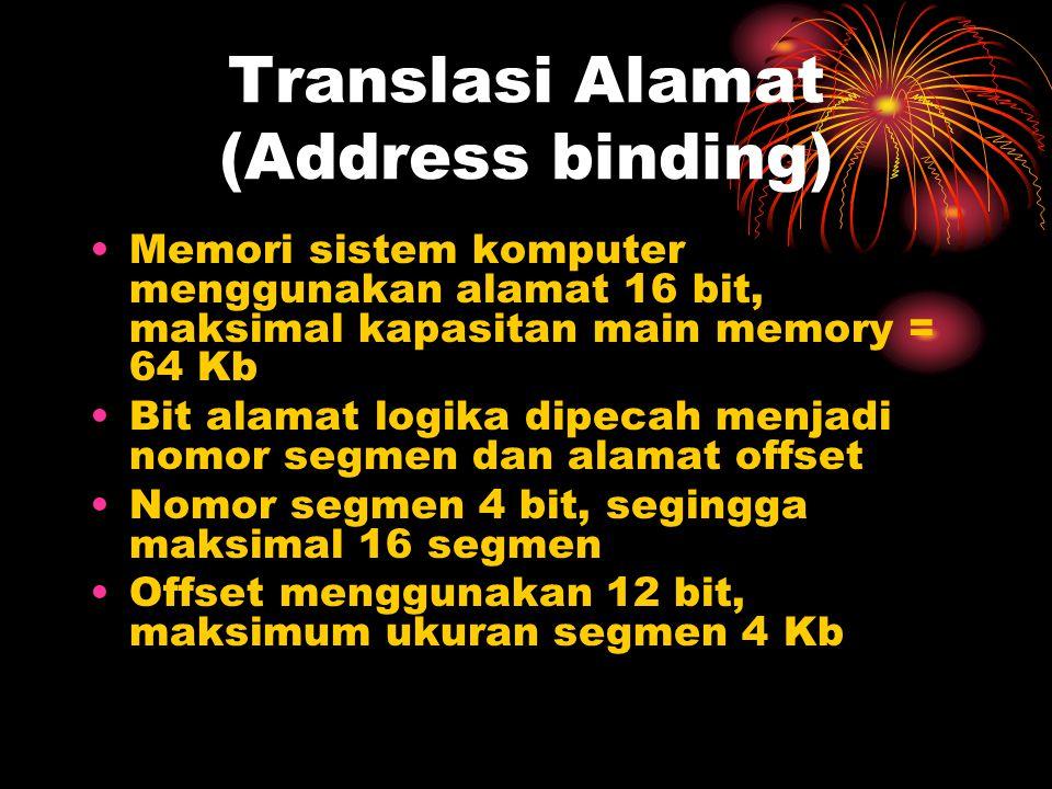Translasi Alamat (Address binding) Memori sistem komputer menggunakan alamat 16 bit, maksimal kapasitan main memory = 64 Kb Bit alamat logika dipecah