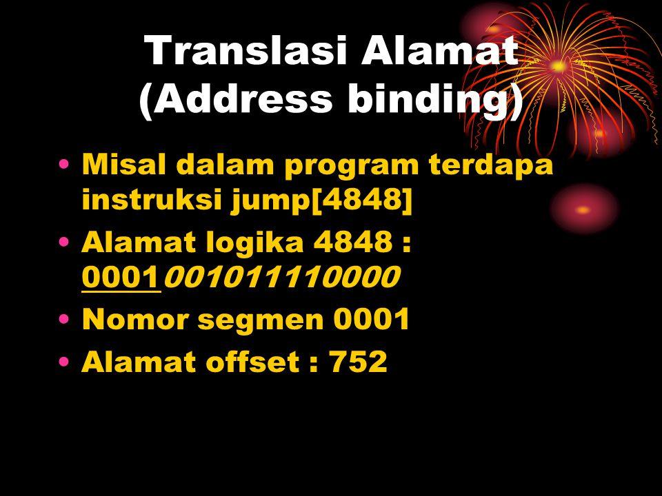 Translasi Alamat (Address binding) Misal dalam program terdapa instruksi jump[4848] Alamat logika 4848 : 0001001011110000 Nomor segmen 0001 Alamat offset : 752