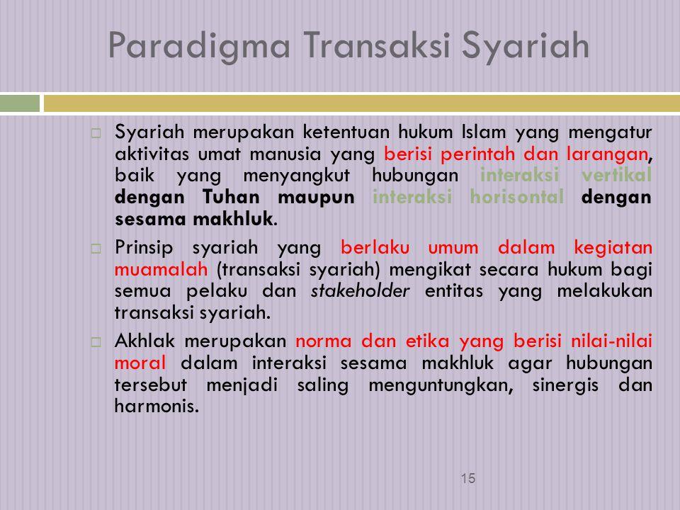 14 Paradigma Transaksi Syariah Alam semesta diciptakan oleh Tuhan sebagai amanah (kepercayaan illahi) dan sarana kebahagiaan hidup bagi seluruh umat manusia untuk mencapai kesejahteraan hakiki secara material dan spiritual (al- falah).