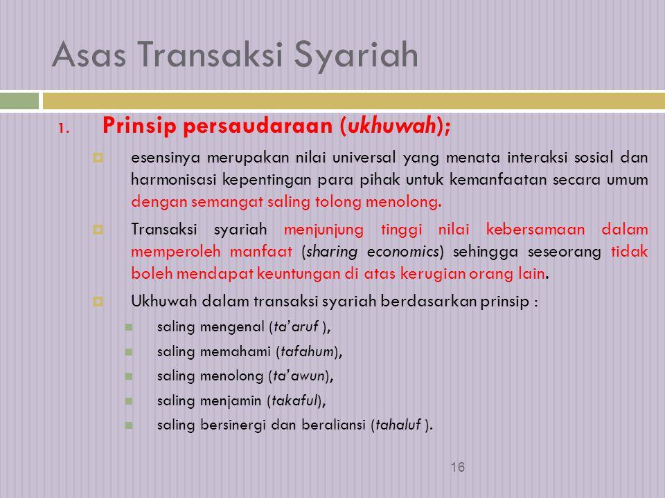 15 Paradigma Transaksi Syariah  Syariah merupakan ketentuan hukum Islam yang mengatur aktivitas umat manusia yang berisi perintah dan larangan, baik yang menyangkut hubungan interaksi vertikal dengan Tuhan maupun interaksi horisontal dengan sesama makhluk.