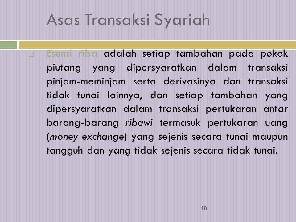 17 Asas Transaksi Syariah 2.