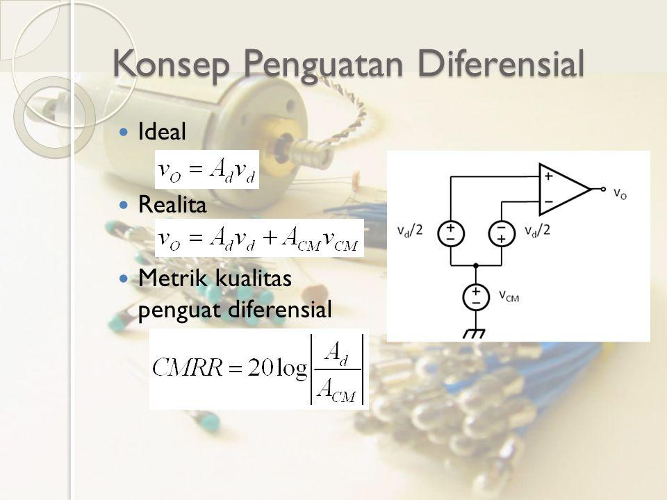 Rangkaian dan Pengamatan 5 Pengaruh penggunaan beban aktif Amati ◦ Arus bias ◦ Penguatan Differential Mode – untuk output satu terminal dan diferensial ◦ Penguatan Common Mode – untuk output satu terminal dan diferensial