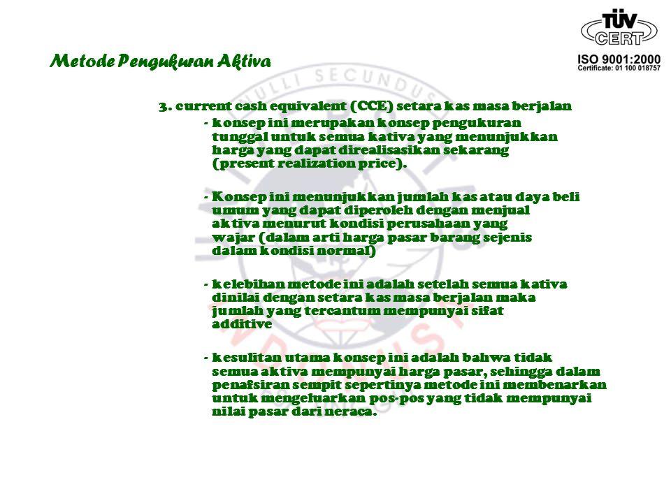 Metode Pengukuran Aktiva 3. current cash equivalent (CCE) setara kas masa berjalan - konsep ini merupakan konsep pengukuran tunggal untuk semua kativa