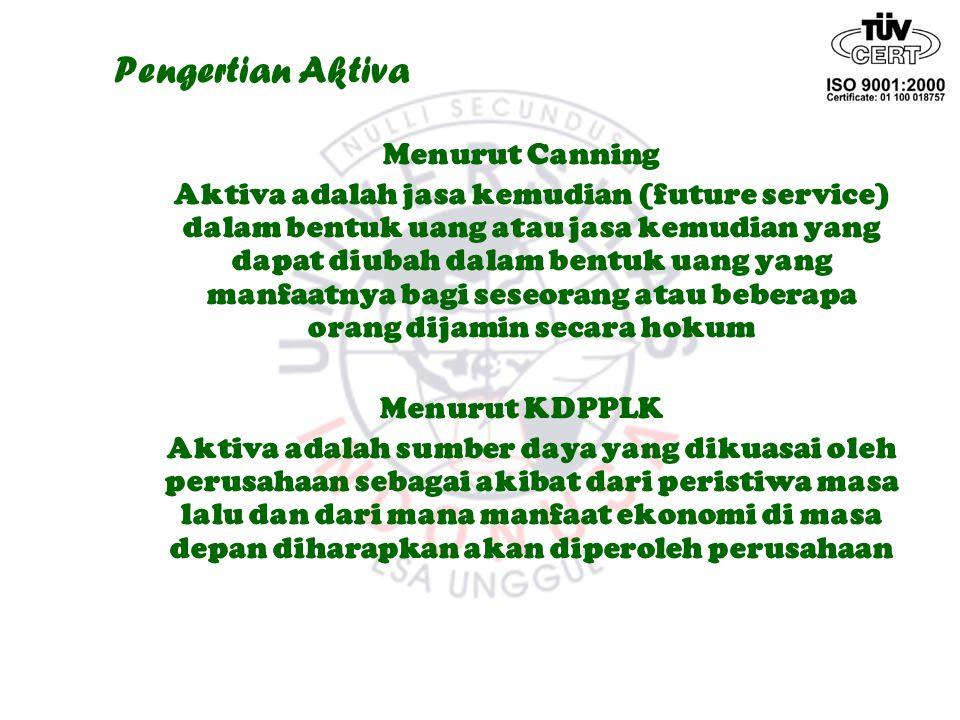 Pengertian Aktiva Menurut Canning Aktiva adalah jasa kemudian (future service) dalam bentuk uang atau jasa kemudian yang dapat diubah dalam bentuk uan