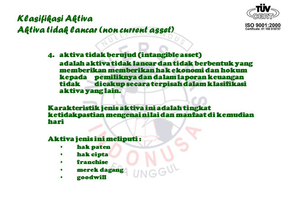 Klasifikasi Aktiva Aktiva tidak lancar (non current asset) 4.aktiva tidak berujud (intangible asset) adalah aktiva tidak lancar dan tidak berbentuk ya