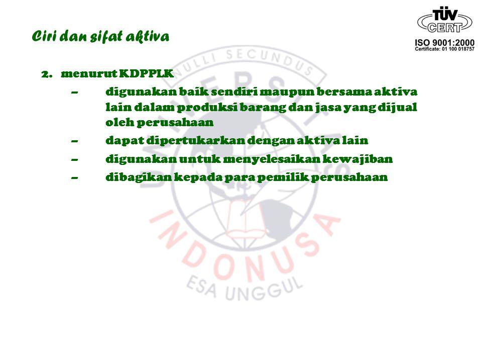 Ciri dan sifat aktiva 2. menurut KDPPLK –digunakan baik sendiri maupun bersama aktiva lain dalam produksi barang dan jasa yang dijual oleh perusahaan