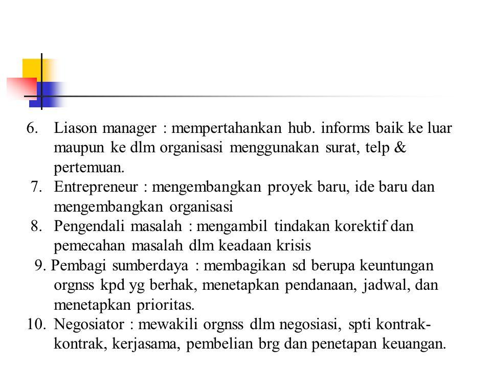 Sepuluh peran pemimpin : 1.Monitor : mencari dan menerima informasi, mengamati dan melaporkan, mempertahankan kontak personal. 2.Desiminator : menyeba