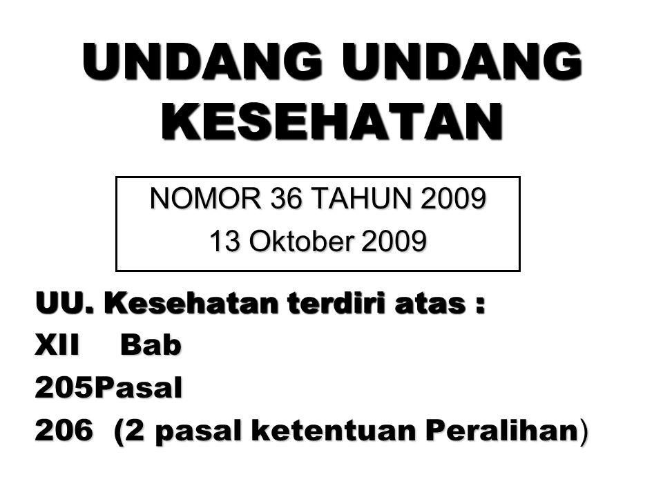 UU. Kesehatan terdiri atas : XII Bab 205Pasal 206 (2 pasal ketentuan Peralihan ) UNDANG UNDANG KESEHATAN NOMOR 36 TAHUN 2009 13 Oktober 2009