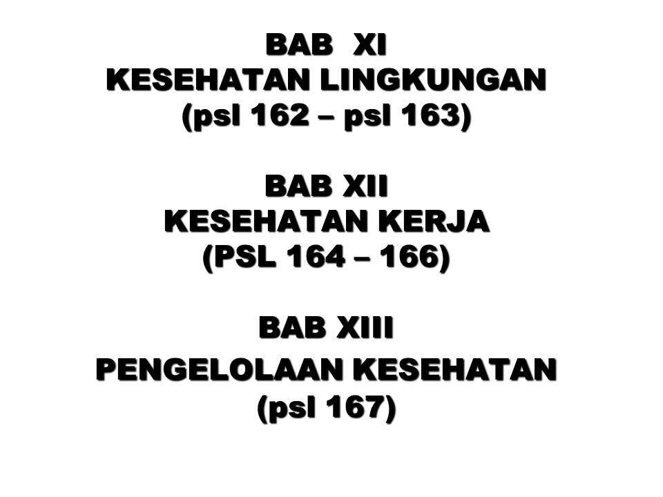 BAB XIV INFORMASI KESEHATAN (psl 168 – 169) BAB XV PEMBIAYAAN KESEHATAN (psl 170 – 173) BAB XVI PERAN SERTA MASYARAKAT (PSL 174)