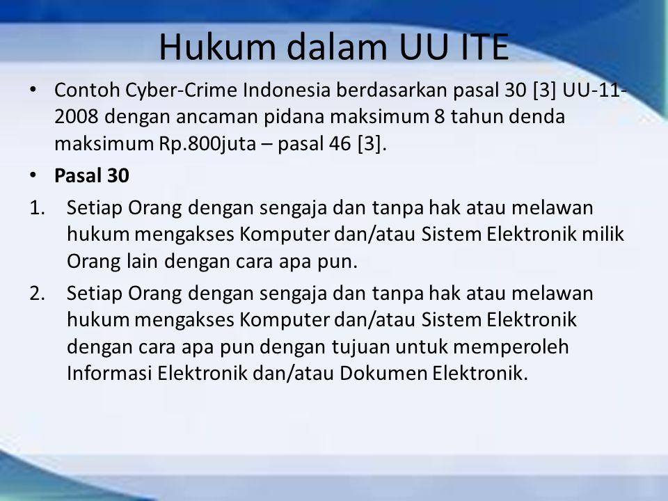 Hukum dalam UU ITE Contoh Cyber-Crime Indonesia berdasarkan pasal 30 [3] UU-11- 2008 dengan ancaman pidana maksimum 8 tahun denda maksimum Rp.800juta