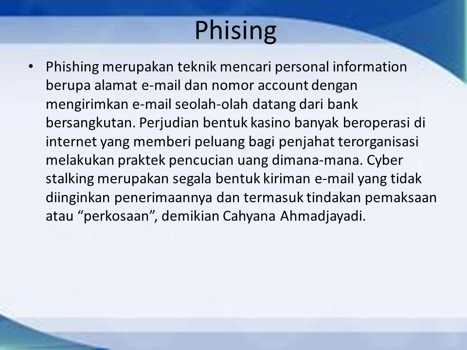 Phising Phishing merupakan teknik mencari personal information berupa alamat e-mail dan nomor account dengan mengirimkan e-mail seolah-olah datang dar