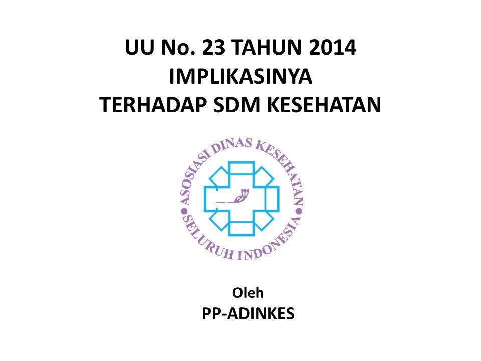 UU No. 23 TAHUN 2014 IMPLIKASINYA TERHADAP SDM KESEHATAN Oleh PP-ADINKES