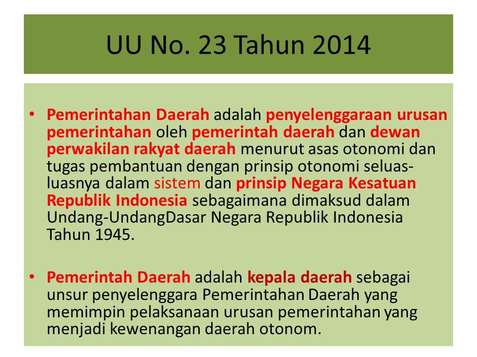UU No. 23 Tahun 2014 Pemerintahan Daerah adalah penyelenggaraan urusan pemerintahan oleh pemerintah daerah dan dewan perwakilan rakyat daerah menurut
