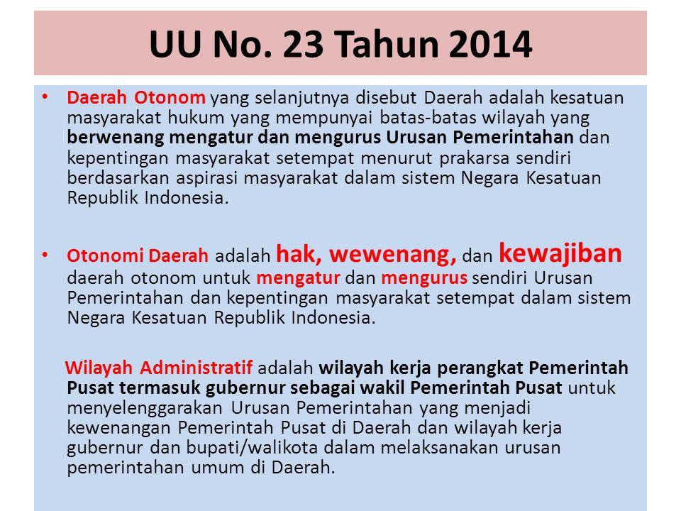 UU No. 23 Tahun 2014 Daerah Otonom yang selanjutnya disebut Daerah adalah kesatuan masyarakat hukum yang mempunyai batas-batas wilayah yang berwenang