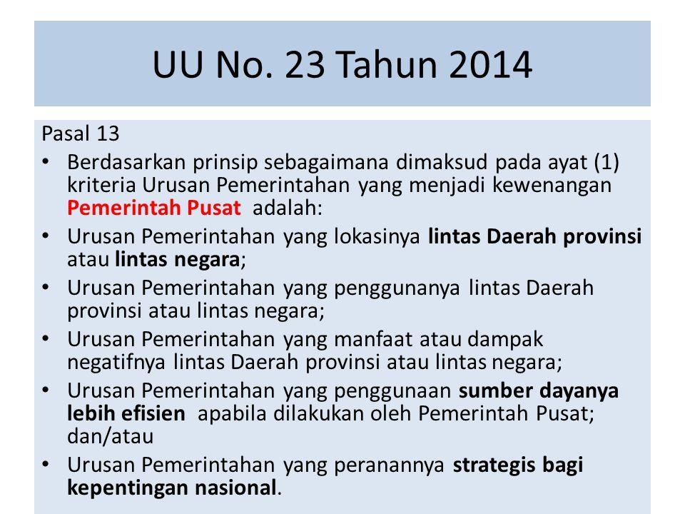 UU No. 23 Tahun 2014 Pasal 13 Berdasarkan prinsip sebagaimana dimaksud pada ayat (1) kriteria Urusan Pemerintahan yang menjadi kewenangan Pemerintah P