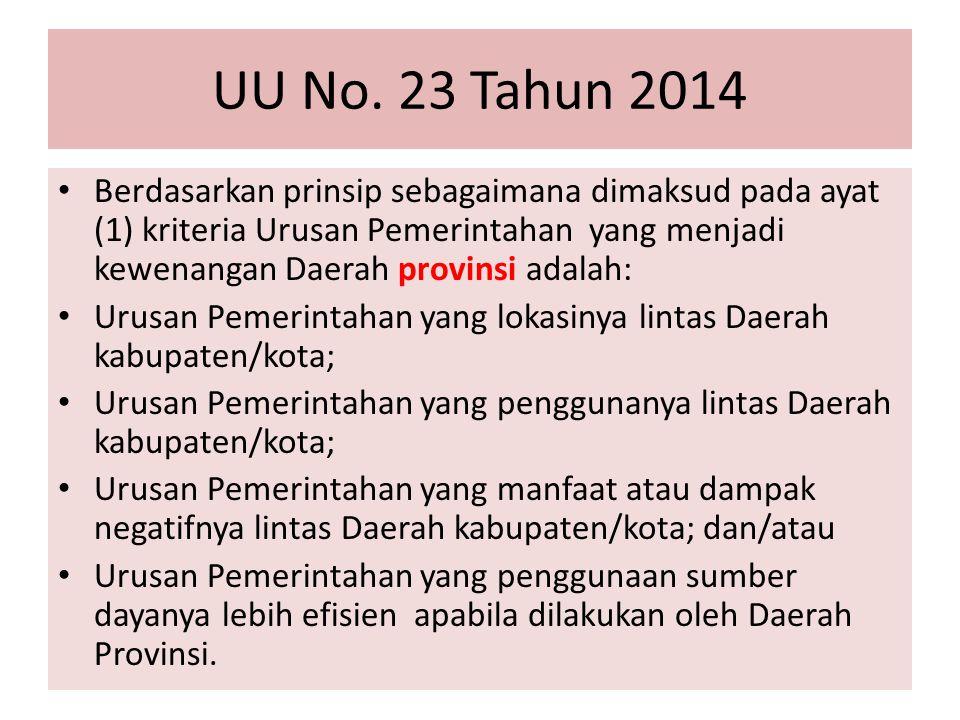 UU No. 23 Tahun 2014 Berdasarkan prinsip sebagaimana dimaksud pada ayat (1) kriteria Urusan Pemerintahan yang menjadi kewenangan Daerah provinsi adala