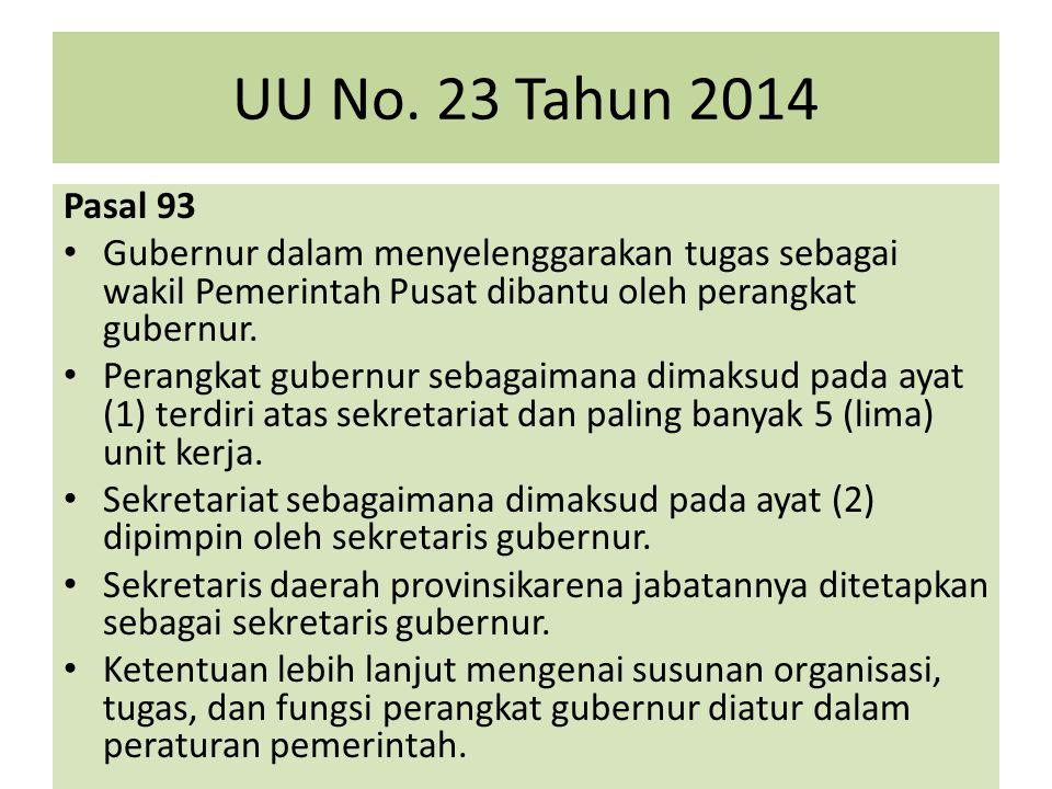 UU No. 23 Tahun 2014 Pasal 93 Gubernur dalam menyelenggarakan tugas sebagai wakil Pemerintah Pusat dibantu oleh perangkat gubernur. Perangkat gubernur