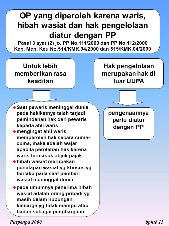 OP yang diperoleh karena waris, hibah wasiat dan hak pengelolaan diatur dengan PP Pasal 3 ayat (2) jo. PP No.111/2000 dan PP No.112/2000 Kep. Men. Keu