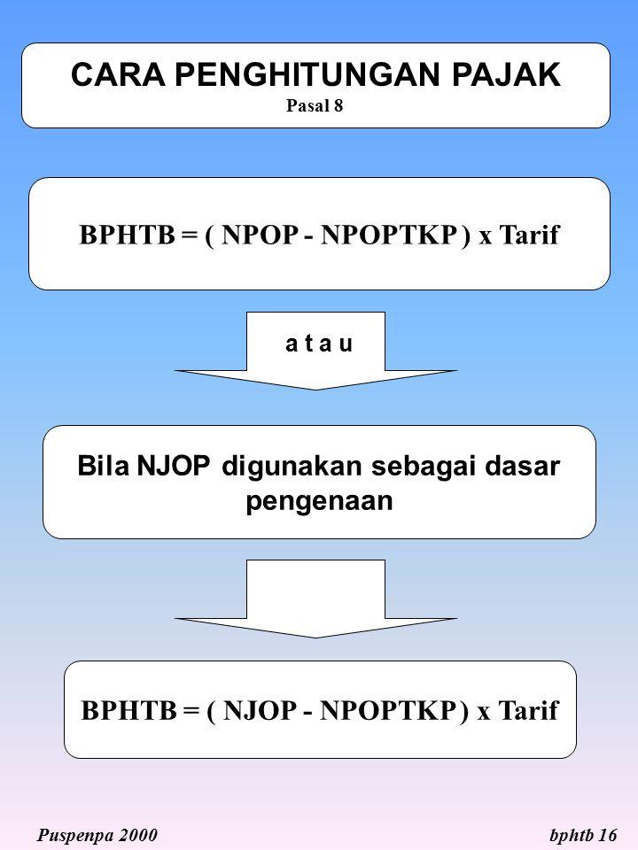 BPHTB = ( NJOP - NPOPTKP ) x Tarif BPHTB = ( NPOP - NPOPTKP ) x Tarif CARA PENGHITUNGAN PAJAK Pasal 8 a t a u Bila NJOP digunakan sebagai dasar pengen