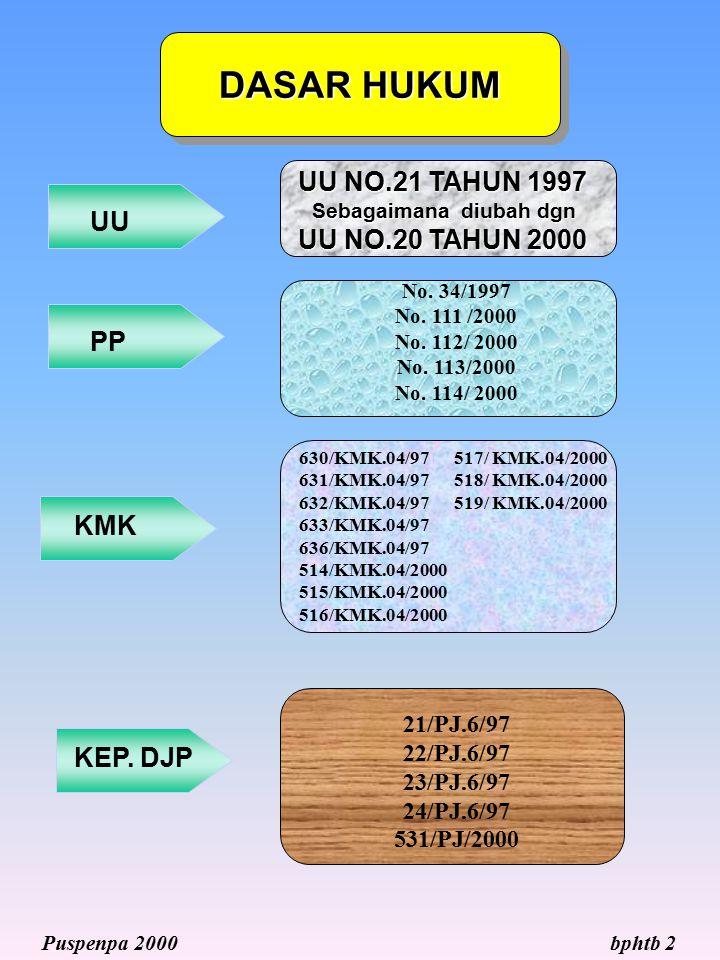 DASAR HUKUM bphtb 2Puspenpa 2000 UU PP KMK KEP. DJP 630/KMK.04/97 517/ KMK.04/2000 631/KMK.04/97 518/ KMK.04/2000 632/KMK.04/97 519/ KMK.04/2000 633/K