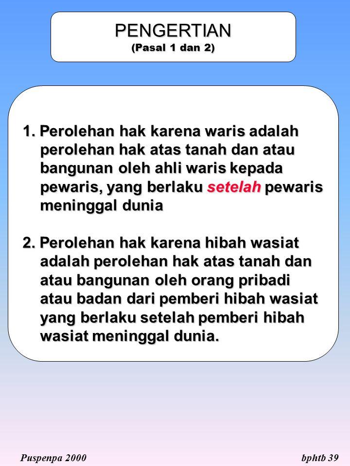 PENGERTIAN (Pasal 1 dan 2) 1. Perolehan hak karena waris adalah perolehan hak atas tanah dan atau bangunan oleh ahli waris kepada pewaris, yang berlak