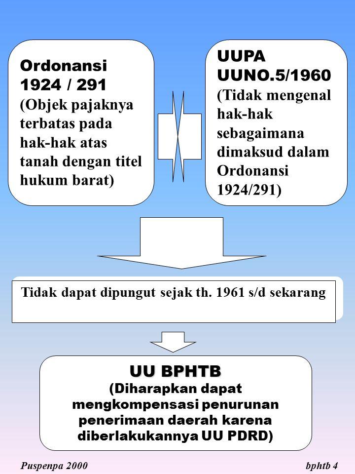 Ordonansi 1924 / 291 (Objek pajaknya terbatas pada hak-hak atas tanah dengan titel hukum barat) UUPA UUNO.5/1960 (Tidak mengenal hak-hak sebagaimana d